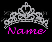 Personalized Tiara Silver with Princess Name in Hot Pink, Window Decal