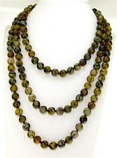 Necklace 8mm Round Beads Gemstone Strand 35 Inches Yellow Veins Dragon agate