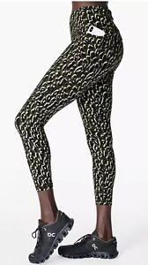 Sweaty Betty The Power 7/8 Leggings Yoga Green Leopard Print Size Medium