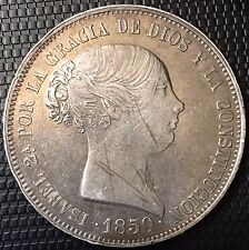 20 REALES ISABEL II 1850 Madrid CL RARE ET SUP