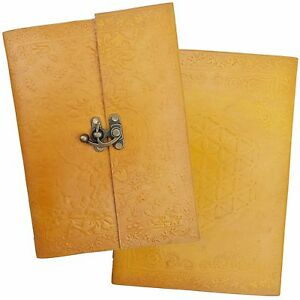 Handmade Real Leather Yellow Floral Sketchbook Journal Diary - Cartridge Paper