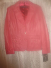 PAMELA MCCOY GENUINE RED LEATHER JACKET NWT SZ M WITH RHINESTONES TAILORED FIT