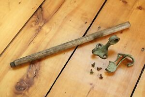 antique wooden towel holder | vtg deco victorian iron bathroom deco old bath