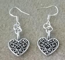 Tibetan Silver heart charm design drop sterling silver ear wire earrings