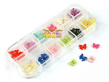 60x hot 3D Bowknot Resin rose Rhinestone Acrylic Nail Art Tips Decoration Box