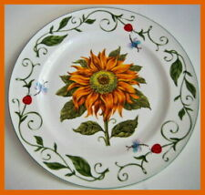 "Botanical Gardens Sunflower 10.5"" Dinner Plate Vine Edge w Dragonflies Ladybug"