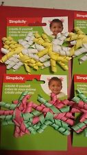 4 sets Simplicity 2 piece mini green/pink & 2mini yellow/white korker hair clips