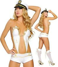 WOMEN SEXY SAILOR FANTASY 3 PEICE SHORT ROMPER FANCY DRESS COSTUME SET O/S- 6-10