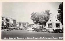 Mount Pleasant Iowa West Side of Square Real Photo Antique Postcard J59968