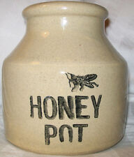"MOIRA POTTERY HONEY POT JAR ENGLAND BEE GRAPHIC 5"" TALL EUC VINTAGE"