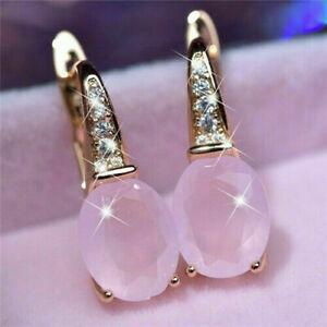 Lovely 925 Silver Pink Hibiscus Stone 18K Gold Gemstone Women Teardrop Earrings