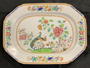 """EARLY ANTIQUE SPODE PEACOCK 14.5"""" PLATTER 2118 STONE CHINA POTTERY C1805-30 BIRD"""