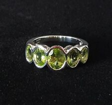 Sterling Silver Peridot Ring Size 8 Oval Cut Semi Bezel Ladies 925 India NEW