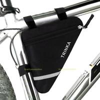 Waterproof Triangle Cycling Bicycle Front Tube Frame Pouch Saddle Bag Black NEW