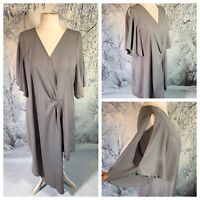 Ladies Grey Top Size 22 BOOHOO Gathered Asymmetric Short Flared Sleeve NWOT
