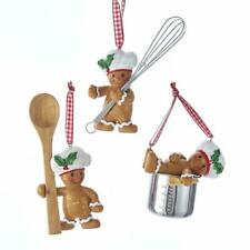 "Kurt Adler 3.5"" Gingerbread Boy Baking Christmas Ornament Set of 3"