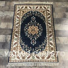 YILONG 2'x3' Handknotted Persian Silk Carpet Blue Home Interior Small Rug Y391C
