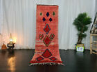 Moroccan Tribal Vintage Handmade Runner Rug 2'6x7'5 Geometric Red Wool Rug