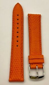 Michele 18mm Watch Band Orange Genuine Lizard Authentic Made in Italy