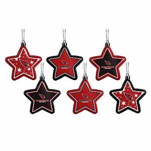 Arizona Cardinals Shatterproof Stars Holiday Christmas Tree Ornaments Set 6 pack