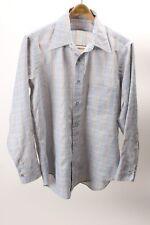 Vintage Excello John Weitz Light Blue Plaid Men's Long Sleeve Shirt Size Medium