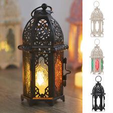 2x Moroccan Metal Hollow Wedding Hanging Candle Holder Candle Lantern Brown