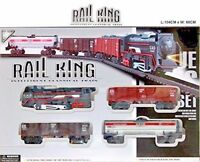 RAIL KING TOY TRAIN SET TRACK CARRIAGES LIGHT ENGINE BOXED BOYS KIDS BATTERY