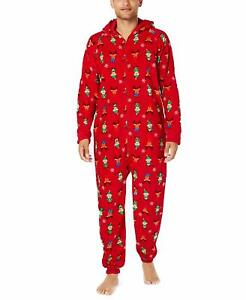 Family PJs Men's Elf Hooded One Piece Pajamas Red Large