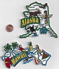 ALASKA  and  HAWAII JUMBO  STATE  MAP  MAGNETS  7 COLOR   NEW USA  2 MAGNETS