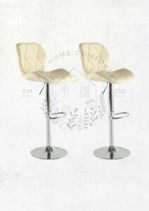 Set of Cream Bar Stools Swivel Kitchen Breakfast Stool Chair PU Adjustable