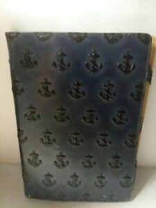 JACK SPADE New York Genuine Blue Embossed Anchors Leather iPad Mini Case