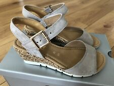 BRAND NEW GABOR ladies low wedge sandal in silvery grey with buckle -UK 4.5/37.5