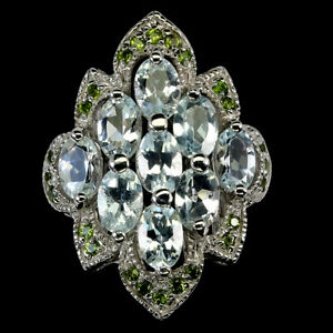 Unheated Oval Aquamarine 6x4mm Chrome Diopside 925 Sterling Silver Ring Size 8