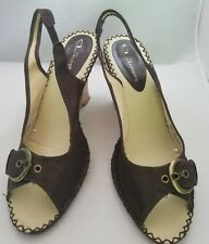 CL By Laundry Celena Wedge Brown Fabric Upper Size 9 M 60188