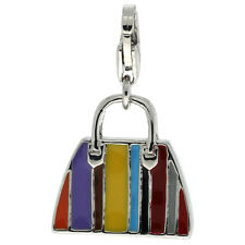 Sterling Silver Enameled 3D Hand Bag Purse Pendant for Charm Bracelet