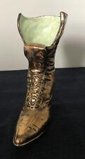 metal glazed ceramic victorian boot /vase signed T Otts 1966