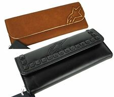 Alpinestars 2 COMBO Leather 4W Sofia Check Book Card Holder Womens Wallet