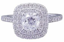 14k White Gold Cushion Forever One Moissanite and Diamond Engagement Ring 1.90ct