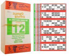 12000 BOOKS 5 PAGE GAME STRIPS OF 6 TV JUMBO BINGO TICKET SHEET BIG BOLD NUMBERS