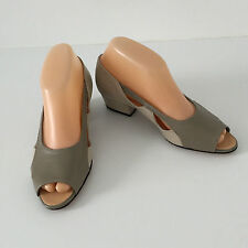 'MARY HARLAND' BNWOT SIZE '6EE' TAUPE/CREAM PEEP TOE LOW HEELED SHOE