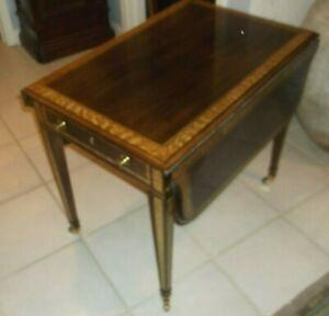 Henredon Mahogany Pembroke Dropleaf One Drawer End Table