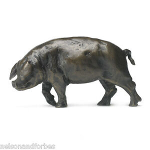 Solid Bronze Pig Sculpture Large Pig Head Left by Sue Maclaurin