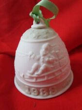 Lladro 1988 Christmas Bell Ornament White And Green Porcelain Spain
