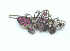 Bejeweled Butterfly Hair barrette antiqued Gold tone Purple Aurora Borealis