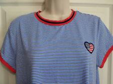 "XL~NWOT~""So American Heritage"" (Kohls) Red White Blue S/S Knit Top~Flag Heart"