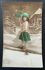 Edwardian romance 1910s original vintage photo postcard girl ski snow winter