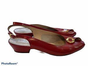 Salvatore Ferragamo Peep Toe Pumps Slingback 8.5 AA Red Patent Leather Gold A23