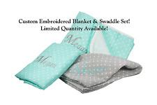 NEW! Personalized 4-Ply Muslin Blanket & Swaddle Set! Name Added FREE Unisex