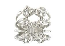 Large 3 Row Silver Tone Crystal Skull Hinged Bangle Bracelet