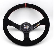 14inch black Ralliart Deep Dish Suede Leather Racing Car Steering Wheel  black